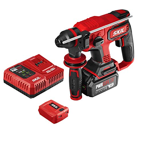 """SKIL PWRCore 20 Brushless 20V 7/8"""" Rotary Hammer Kit, Includes 5.0Ah Battery, PWRJump Charger and PWRAssit USB Adapter - RH1704-1A"""