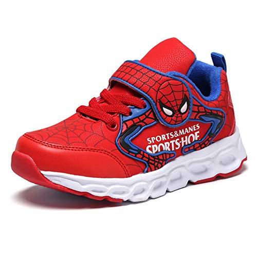XNheadPS Spiderman Zapatos de Deporte ejecutarse de los Muchachos Formadores Confortable al Aire Libre Zapatos de Moda Casual Zapatillas de Deporte de la Gimnasia,Red-26/inner Length 16.5cm