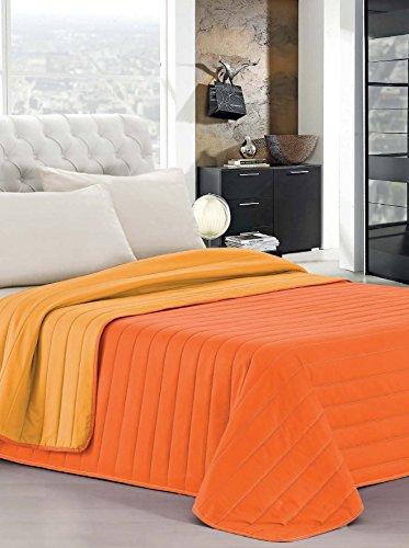 Elegant Cama Italiano Lino Verano Colcha Naranja/Amarillo Individuales 170 x 270 cm