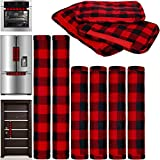 6 Pieces Christmas Refrigerator Cover Door Handle Covers Thick Plaid Kitchen Appliance Covers Handle Protector for Christmas Decorations Fridge Microwave Oven Dishwasher Door Handle