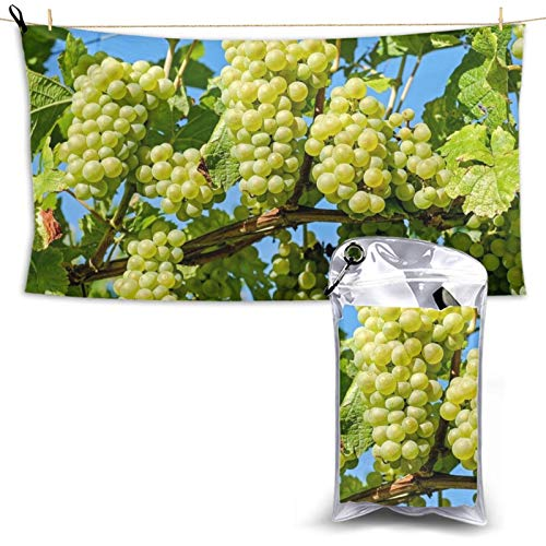 Grapes Fruit Vine Grapevine Quick Drying Beach Towel Microfiber Lightweight Super Absorbent Towel with a Carrying Bag for Gym, Camping, Pool