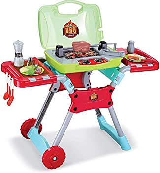 CozyBox BBQ Play Set Little Kids Indoor Outdoor Toy Kitchen Barbecue Grill with Sounds & Lights