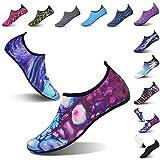 L-RUN Womens Water Swim Shoes Barefoot Skin Aqua Sock Purple_Blue M(W:6.5-7.5)=EU37-38