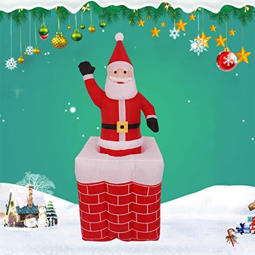 1.6Meters / 5feet riesige aufblasbarer Weihnachtsmann auf dem Schornstein, glühend Weihnachtsaußendekoration mit LED-Licht, Weihnachten Inflatables Spielzeug in Yard Garten