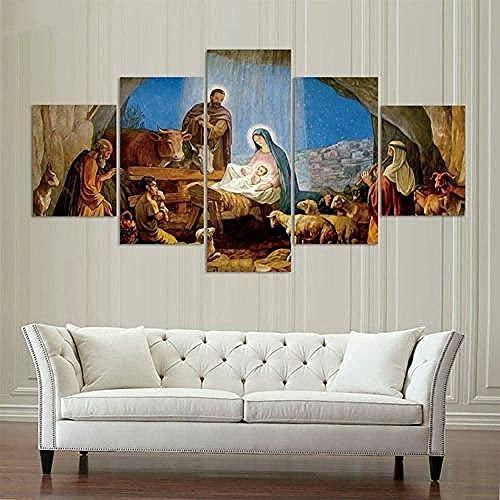5. pintar el lienzo pinturas de arte, el nacimiento de Jesús, impresión moderna de la decoración del hogar marco de estirado obras de arte listo para colgar (60'W x32'H)
