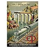 DNJKSA Cartel de Viaje de ferrocarril Vintage Visita Portugal en Tren Impresión de Lienzo clásica Pintura de Arte de Pared para Sala de Estar Decoración del hogar Regalo-20x30 IN Sin Marco