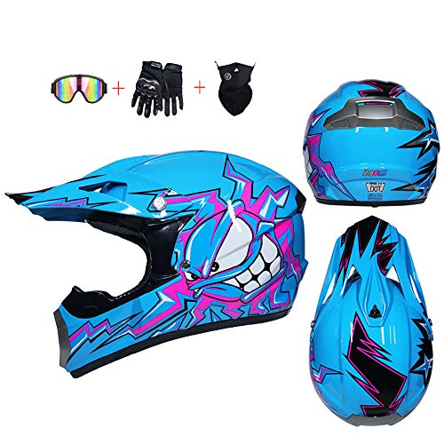 YX Kinds Motocross Helm Motorbikehelmet Dirt Bike Offroad + Handschuhe + Goggles Kinder Quad ATV Go-Kart-Helm Motocross Helm Kinder Quad Absturz Motorrad ATV Helm,S