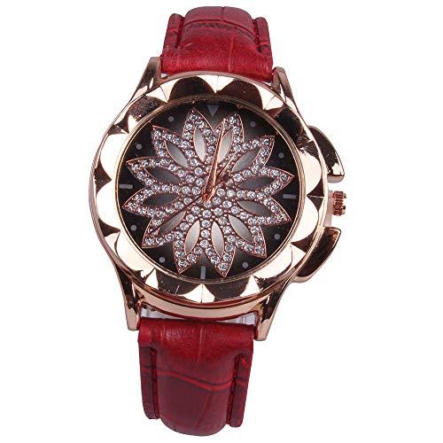 Sahoga Damen Armbanduhr Rhinestone Eingelegte Uhr Frauen Blumen geformt Quarzuhr Wasserdicht Minimalistisch Damenuhr mit Lederband Beiläufig Quarzuhr