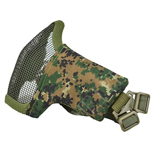 QMFIVE Tactical Maske, Stahl Halbmaske und verstellbare elastische Band Faltbare Half Face Maske Schutzmaske Maske für Airsoft Paintball CS(Woodland Digital (AOR2))
