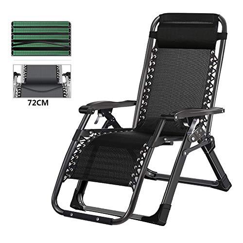 bureaustoelen LVZAIXI zomer Patio Recliner met kussen, tuinstoel met vijfvoudig verband en verbrede zitting, zwarte fauteuil