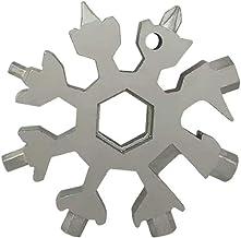 JUNSHUO 18-in-1 Snowflake Multi Tool RVS, Compact Portable Outdoor Snowboarden Schroevendraaier Bike Gereedschappen, Sleut...