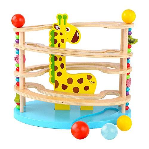 Holz Spielzeug for Kinder, Kugelbahnen, Kugelrampen Spur mit 3 Bällen und Roll Vier-Tier-Roll Turm Spielzeug for Kinder ab 3 Jahren + zcaqtajro