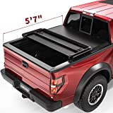 oEdRo Upgraded Soft Tri-fold Truck Bed Tonneau Cover On Top Compatible with 2009-2014 Ford F150 F-150 with 5.5ft Bed, Styleside