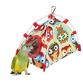 HEEPDD Cabane de Perroquet, Oiseau Suspendu Hamac Jouet Coupe-Vent Nid Maison Lit Grotte Hiver Chaud pour Perruche Cacatoès Cockatoo Conure (Chouette S)
