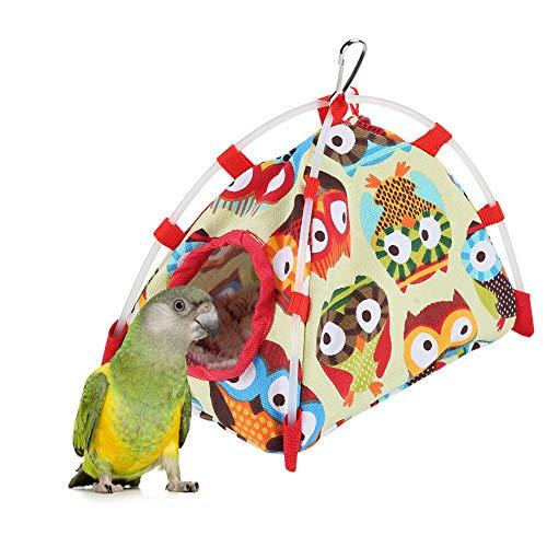 HEEPDD Parrot Hut, Bird Hanging Hammock Toy Antivento Nest House Bed Cave Winter Warm per Parrocchetto Cockatiel Cockatoo Conure (Gufo S)