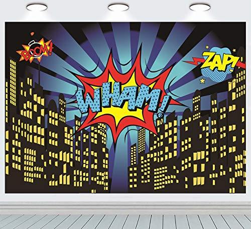 RUINI Superhéroe noche paisaje urbano estrellas foto telón de fondo infantil dormitorio decoración de pared suministros de fiesta superhéroe Super Hero Photo Booth Props (7 x 5 pies)