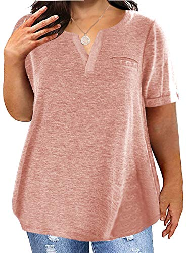 Aiopr Women's Plus Size T Shirts V Neck Henley Casual Summer Solid Loose Pocket Tees Tunic Tops Pink