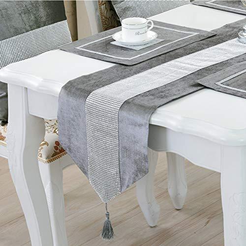 DELIBEST - Camino de mesa con estilo, camino de mesa simple y moderno, lujoso, seda sintética, Gris, 12.6*70.9''(32*180cm)