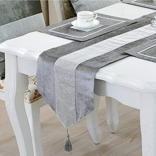 DELIBEST - Camino de mesa con estilo, camino de mesa simple y moderno, lujoso, seda sintética, Gris, 12.6*82.7''(32*210cm)