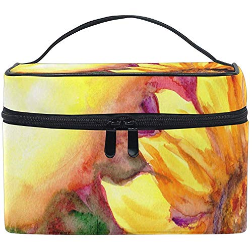 Cosmetic Bag, Sunflower in Sunset Travel Makeup Organizer Bag Cosmetic Case Portable Train Case