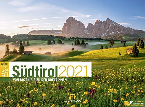 Südtirol ReiseLust Kalender 2021, Wandkalender im Querformat (45x33 cm) - Natur- und Reisekalender Italien, Dolomiten