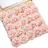 DerBlue 60pcs Artificial Roses Flowers Real Looking Fake Roses Artificial Foam Roses Decoration DIY for Wedding Bouquets Centerpieces,Arrangements Party Home Decorations (Blush Pink)
