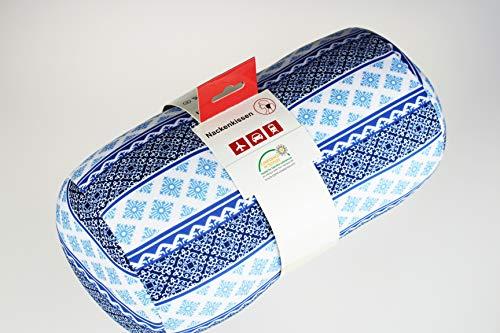 Kamaca Nackenrolle Nackenstütze Reisekissen mit hautsympathischem Bezug universell einsetzbar stützend und praktisch für Reise (Blue Sky Nackenrolle)