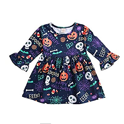 Toddler Baby Girls Halloween Dress Kid Girl Pumpkin Spooky Cartoon Print Skirt Outfit All Saints' Day Sundress (Baby Girls Halloween Dress, 6-12 Months)