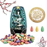 Ceramic Backflow Incense Holder, Waterfall Incense Burner with 120 Incense Cones & 1 Mat Aromatherapy Ornament Home Decor for Home Office Yoga