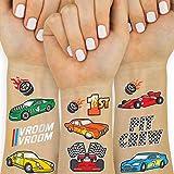 xo, Fetti Race Car Party Supplies Temporary Tattoos - 44 Glitter Styles   Racecar Birthday, Pit Crew, Checkered Flags, Vroom, Wheels