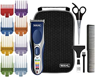 Wahl Clipper Color Pro Cordless Rechargeable Hair Clippers CHROME/BLUE Hair Cutting Kit Color Coded Guide Combs
