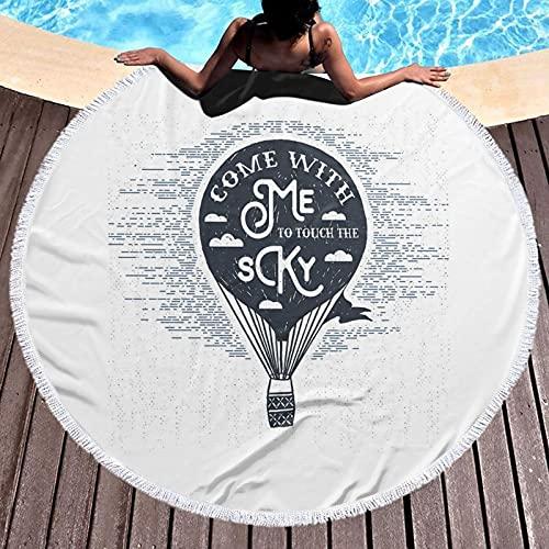 Toalla de playa redonda de microfibra, con globo de aire caliente retro con dibujo romántico de San Valentín, frase a lápiz, toalla de playa ligera para mujeres y hombres de 59 pulgadas