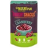 NUTRIPUR Cranberry gefriergetrocknet 25g I Ganze getrocknete Cranberries ungezuckert I 100% Frucht, voller Geschmack