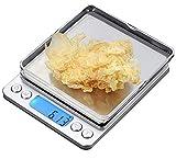 CestMall Balance Cuisine Balance Alimentaire Balance de Précision, 500g 0.001oz/0.01g, Mini Balance Cuisine Inox avec Fonction Tare et Compte, Écran LCD Rétroéclairé, 2 Pallets, 2 Batteries