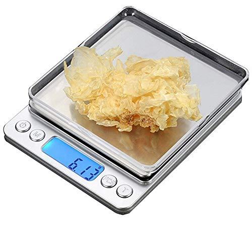 CestMall Balances de Cuisine numériques en Acier Inoxydable (500g 0.001oz/0.01g) Balances numériques de Poche de Haute précision avec 2 Plateaux Amovibles (Argent, 5 x 4,17 x 0,59 Pouces)