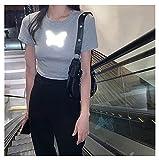 LYHMHZ Camiseta De Manga Corta De Mariposa Reflectante Mujeres De Verano 2021 Nuevo Camisa De Fondo Negro Recortado Top Corto De Estilo Occidental (Color : Gray, Size : L)