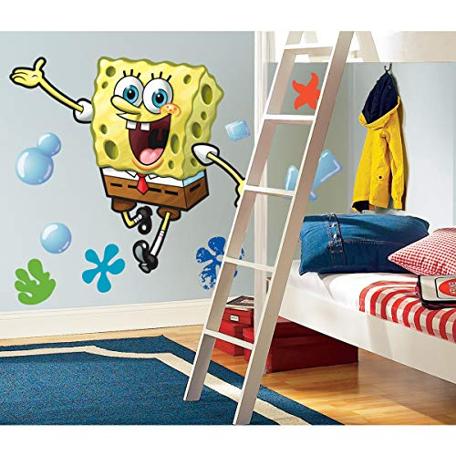 RoomMates RMK1406GM Spongebob Squarepants Peel and Stick Giant Wall Decal,Multicolor,Pack of 1