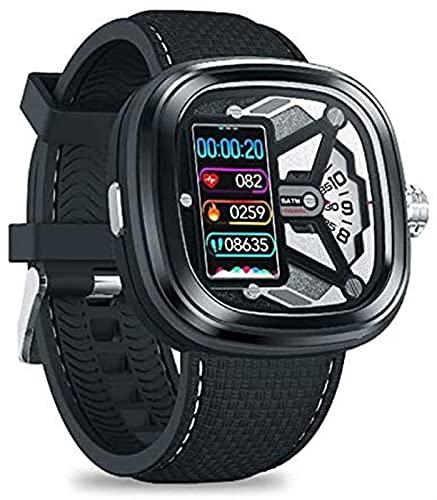 Smart Watch Men 2 Dual-Watch Experience SmartWatch Tarifa cardíaca Presión Arterial Sueño Fitness Tracker Alarma Ejercicio Femenino Salud de Seguimiento Reloj (Color : Black)