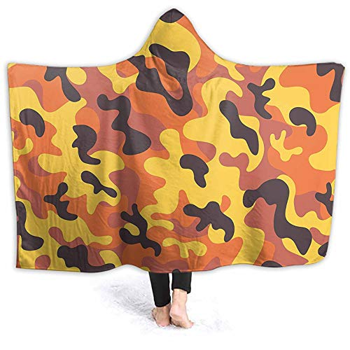ThinkingPower Picnic Blanket Retro Style Camouflage Defense Hidden Modern Yellow Orange Dried Windproof Hoodie Blanket Nice Fit, Soft, Warm and Cozy 60 x 50 Inch