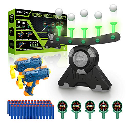 BFUNTOYS Shooting Target Glow in The Dark for Kids – Game for Nerf Gun, Shooting Practice Toys for Boys, with 2 Take Apart Toy Guns, 50 Foam Darts, 10 Floating Ball, 5 Flip Targets and 2 Wrist Band