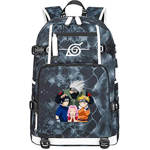 ZZGOO-LL Uzumaki Naruto/Sharingan/Uchiha Sasuke USB Mochila Backpack Casual Impermeable Viaje de Negocios con Unisex-G