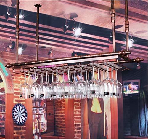 ETH Smeedmateriaal Wijnrek Plafond Wijnrek Verstelbare Hoogte Wandmontage Wijnflessenrek Metaal IJzeren Wijnbekerhouder Goblet Rek Retro Stijl Creatieve Bar Decoratie Display Stand Brons