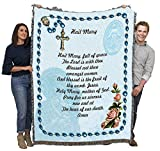 Hail Mary Prayer with Rosary Beads - Cotton Woven Blanket Throw - Made in The USA (72x54)