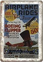 飛行機に乗るサーカスティンサイン装飾ヴィンテージ壁金属プラークレトロ鉄絵カフェバー映画ギフト結婚式誕生日警告