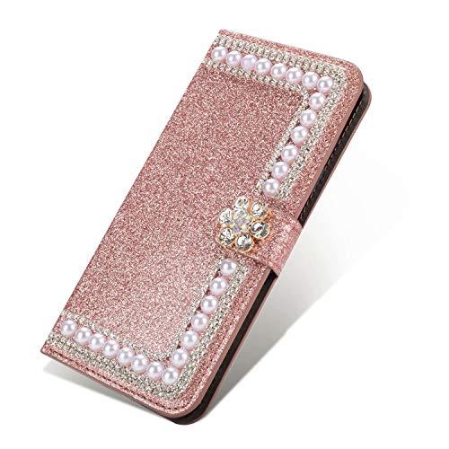 Nadoli Bling Custodia per Samsung Galaxy Note 10,Diamante Bling Pelle Portafoglio Chiusura Magnetica Slot per Schede Perla Cuore Flip Caso Case Cover,Rosa Oro