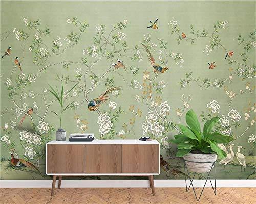 Naam, foto, personaliseerbaar, Chinese stijl, handbeschilderd, balpen, bloemen, nostalgisch, muur, pastoraal 400x280cm