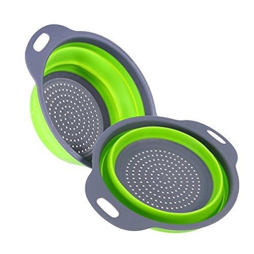 BESTOMZ Sieb Klappbar, Faltbare Abtropfsieb, 2 Stück Silikon Sieb Faltbare Seiher Küche Ordnung Nudelsieb (Grün)