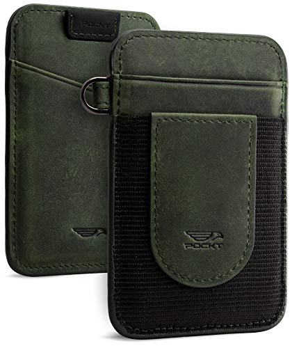POCKT Slim Minimalist Front Pocket Wallet Elastic Credit Card Holder Genuine Leather RFID Blocking Wallets for Men and Women | Vintage Midnight Green