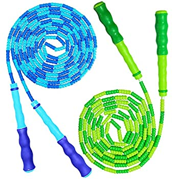 YongnKids Jump Rope for Kids Adults - Adjustable Soft Beaded Skipping Rope for Men Women Kids Fitness,Keeping Fit,Training,Workout,Weight Loss,2 Pack 9 Feet Blue & Green Ropes