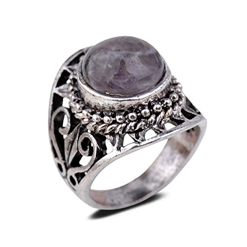 YAZILIND Vintage Antique Round Cut Purple Imitation Amethyst Retro Silver Plated Heart Hollow Ring Women Jewellery Gift(Size R 1/2)